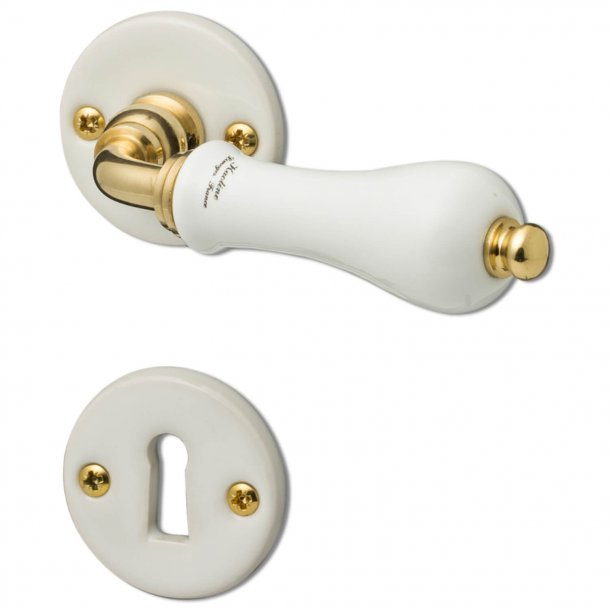 Door handle interior - Porcelain and Brass