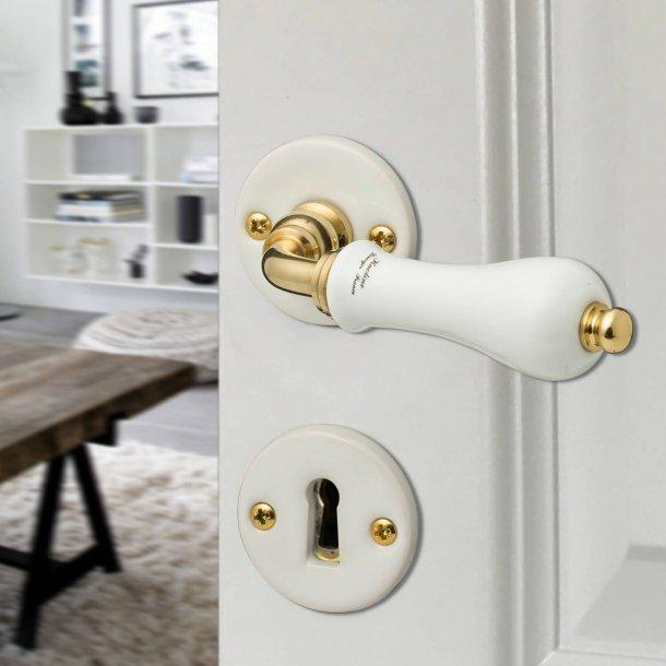 Door handle interior - Porcelain and Brass