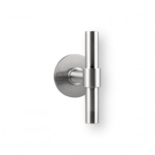 Door handle on rosettes - PBT15/50 - Brushed steel - Formani - Model ONE - Design by Piet Boon
