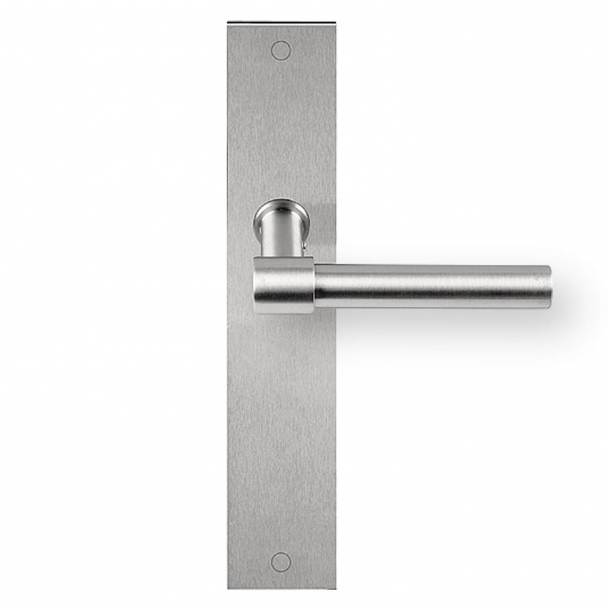 Door handle on backplate - PBL15P236 - Brushed steel - Formani - Model ONE - Design by Piet Boon