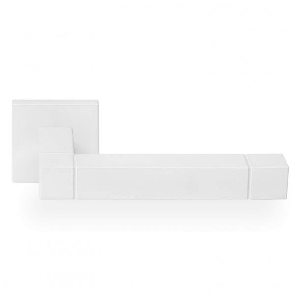 Door handle JB100 - Matte white steel - Model SQUARE - Design by Jan des Bouvrie