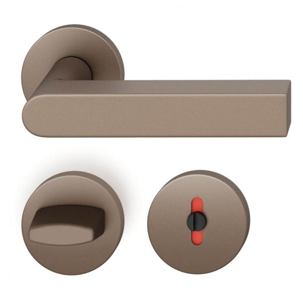 FSB Door handle with privacy lock - Medium bronze brushed aluminium - Peter Bastian - Model 1001