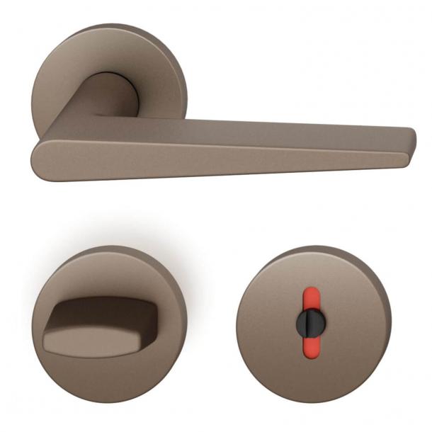 FSB Door handle with privacy lock - Medium Bronze - Johannes Potente - Model 1005