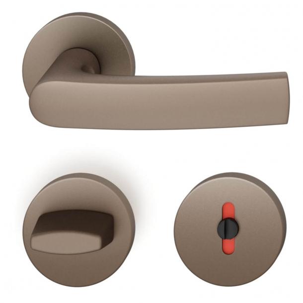 FSB Door handle with toilet lock - Medium bronze - Johannes Potente - Model 1015