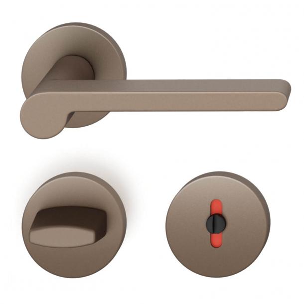 FSB Door handle with privacy lock - Medium bronze - FSB Workshop - Model 1021