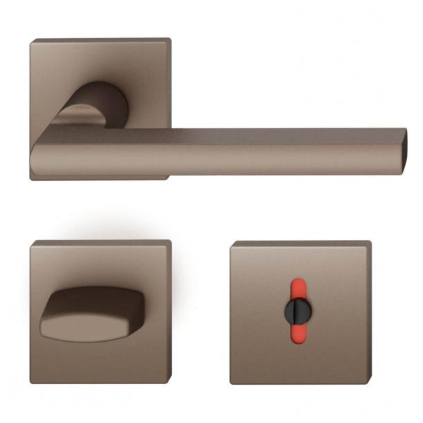 FSB Door handle with privacy lock - Medium bronze - Heike Falkenberg - Model 1035