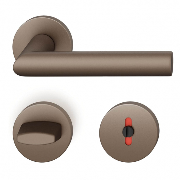 FSB Door handle with privacy lock - Medium bronze - Robert Mallet-Stevens - Model 1076