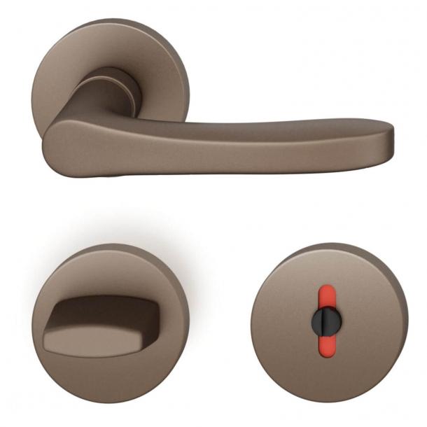 FSB Door handle with privacy lock - Medium bronze - FSB Workshop - Model 1106