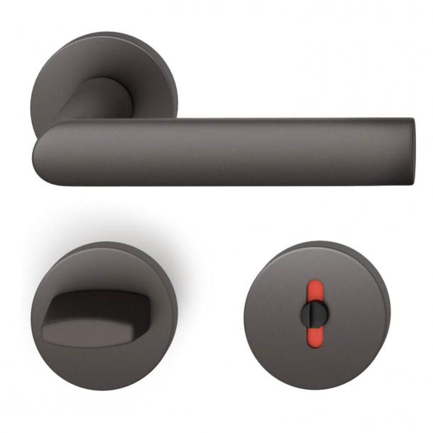 FSB Door handle with privacy lock - Dark bronze - Hartmut Weise - Model 1108
