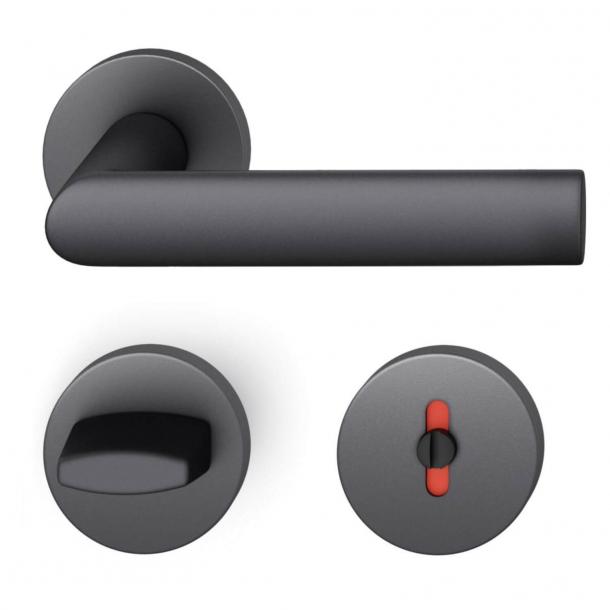 FSB Türgriff mit Toilettenverkleidung - Schwarzes Aluminium - Hartmut Weise - Modell 1108