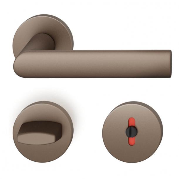 FSB Door handle with privacy lock - Medium bronze - Hartmut Weise - Model 1108