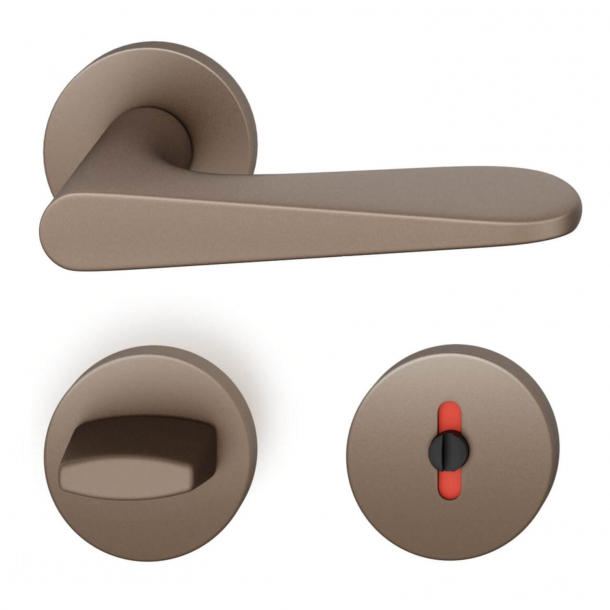 FSB Door handle with privacy lock - Medium bronze - Jasper Morrison - Model 1144