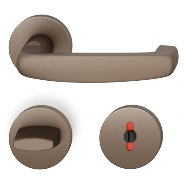 FSB Door handle with privacy lock - Medium bronze - Ortner & Ortner - Model 1159