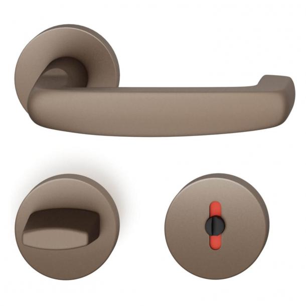 FSB Door handle with privacy lock - Medium bronze - Ortner & Ortner - Model 1159