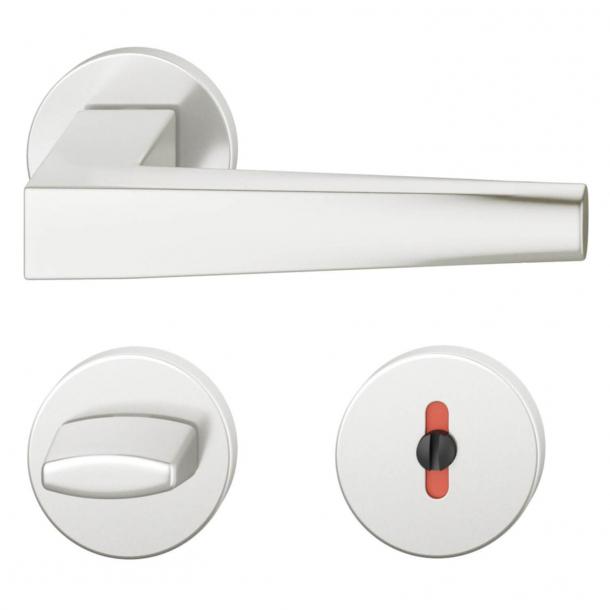 FSB Door handle with privacy lock - Brushed aluminium - RDAI - Model 1241