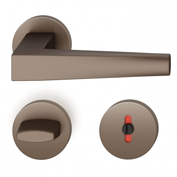 FSB Door handle with privacy lock - Medium bronze - RDAI - Model 1241