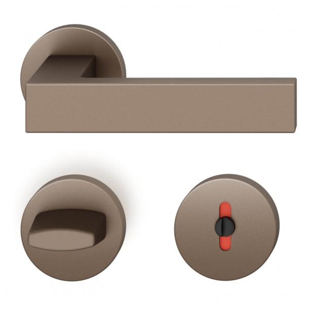 FSB Door handle with privacy lock - Medium bronze - Hartmut Weise - Model 1251