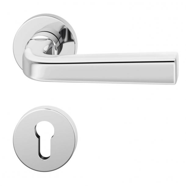 Klamka do drzwi - Stal nierdzewna - Rozeta pod zamek typu PZ - Model 1254 - 12 1254 01310 6205