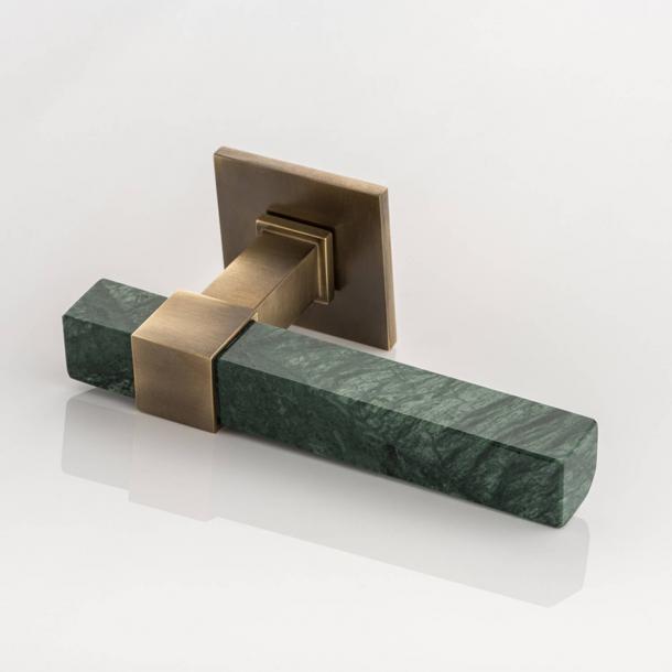 Joseph Giles Dörrhandtag - Antik mässing / Grön Guatemala marmor - Modell LV1097