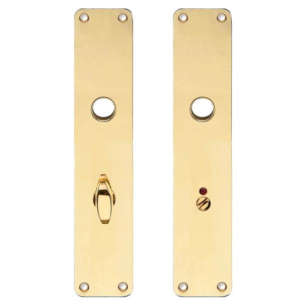 Lång platta med WC-lås - Mässing utan lack - Boda - Handtagshål ø16 - 220x45x2 mm
