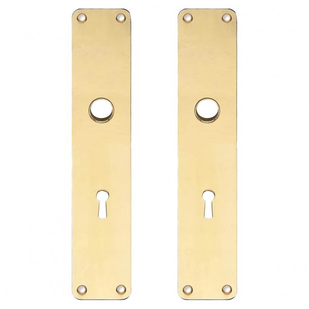 Rückenplatte mit Schlüsselloch - cc72mm - Messing ohne Lack - Boda - Griffloch ø15 - 220x45x2 mm