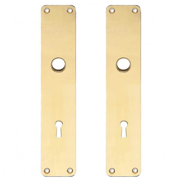 Langskilt med nøglehul - cc80 mm - Messing uden lak - REX - Grebshul ø16 - 220x45x2 mm