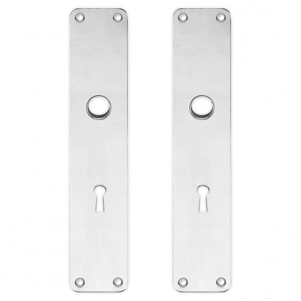 Backplate with keyhole - cc72mm - Polished nickel - Boda - Handle hole ø16 - 220x45x2 mm