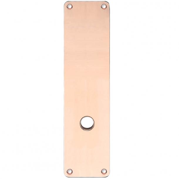 Långa skyltar - Koppar utan lack - ASSA - Handtagshål ø15 - 235x55x2 mm