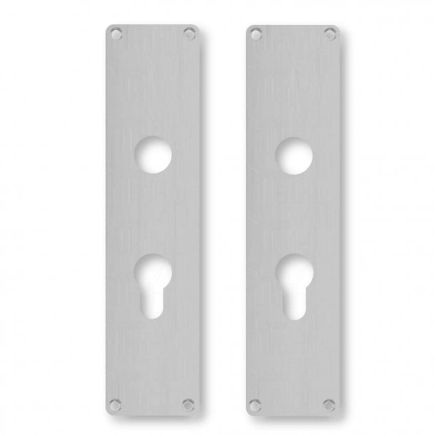 Door back plate L45 G - Brushed steel - Euro Profile lock