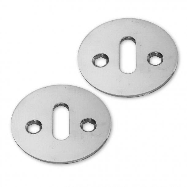 Arne Jacobsen key escutcheon - Chrome - Oval hole