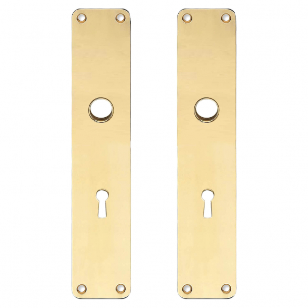 Backplate with keyhole - cc72mm - Brass without lacquer - Boda - Handle hole ø15 - 220x45x2 mm