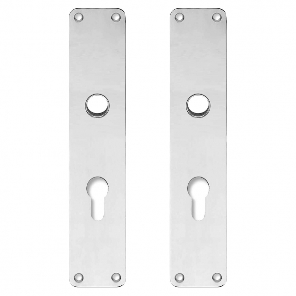 Backplate with Europrofile cylinder hole - cc72mm - Nickel - Handle hole ø16 - 220x45