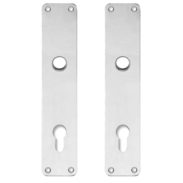 Backplate with Europrofile cylinder hole - cc92mm - Nickel - Handle hole ø16 - 220x45