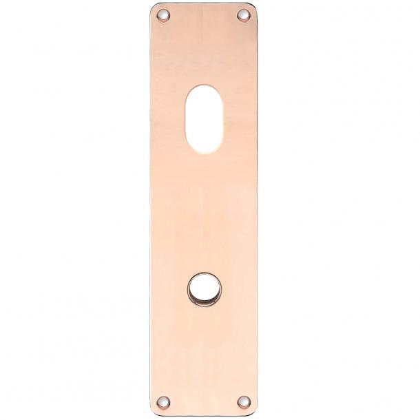 Langschild - Kupfer ohne Lack - ASSA ovales Zylinderloch - Griffloch ø15 - 235x55x2 mm