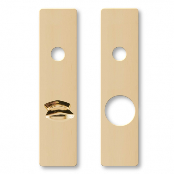 Door back plate RUKO Series 250 Cylinder out - Thumb turn interior - Brass without lacquer