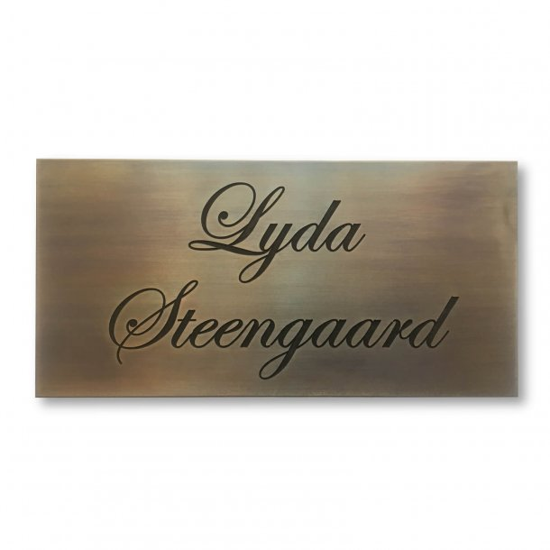 Brass plate with engraving 20 x 10 cm