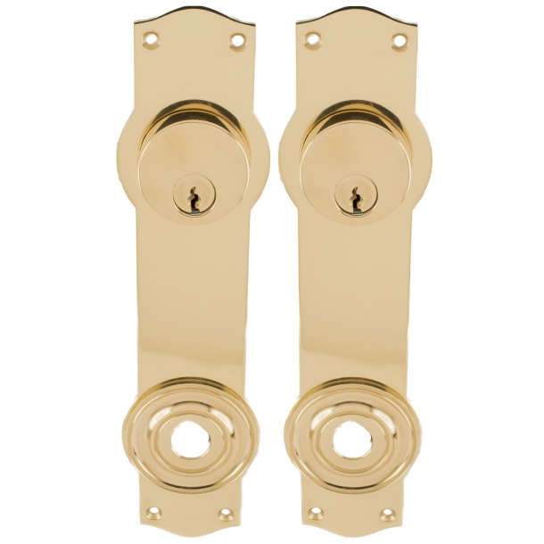 Door back plate Brass - cylinder lock out - cylinder lock interior - L41
