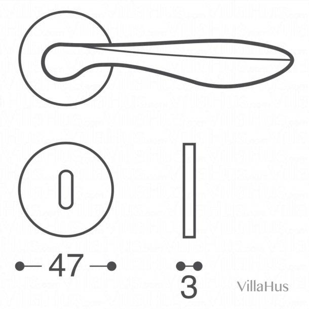 Dørgreb indendørs - Roset og nøgleskilt - Mat sort - Model OLA