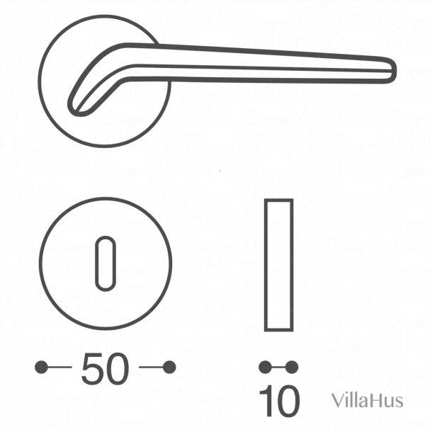 Klamka wewnątrz - rozety i dziurka od klucza - Satynowy chrom - model DENVER