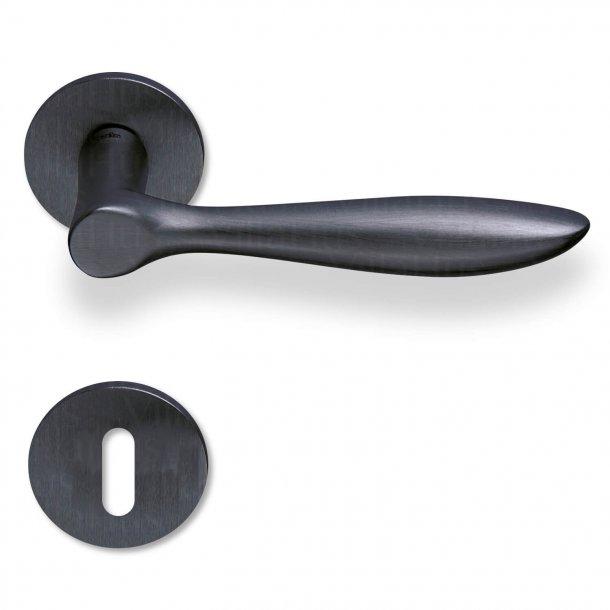 Türgriff innen - Rosetten und Schlüsselloch - Matt schwarz - Modell OLA
