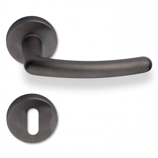 Klamka wewnątrz - rozety i dziurka od klucza - Gun Metal - model BRUGES