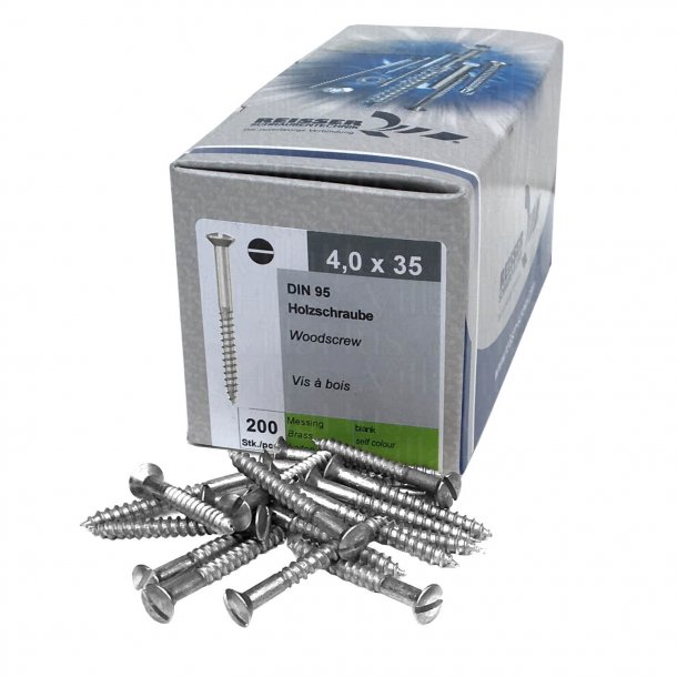 Nickel plated wood screws - Slotted - 4,0x35mm (200 pcs.)