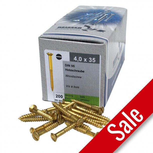 Brass wood screws - Slotted - 4,0x35mm (200 pcs.)
