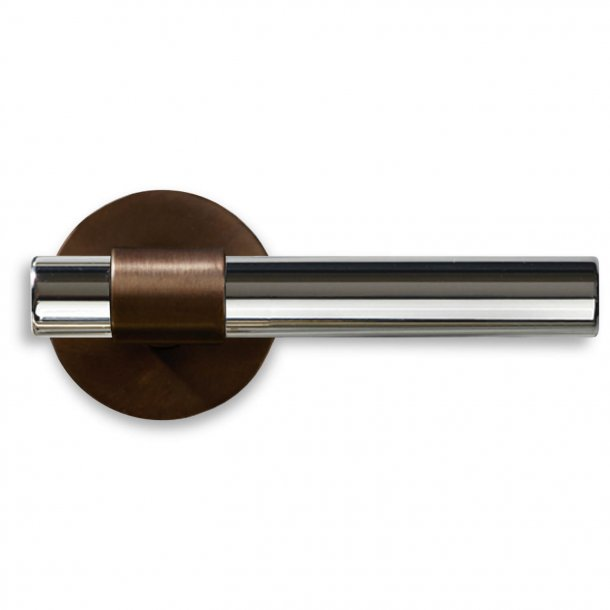 Door handle, Burnished Brass / Nickel plated, Model THE DOOR, 113mm