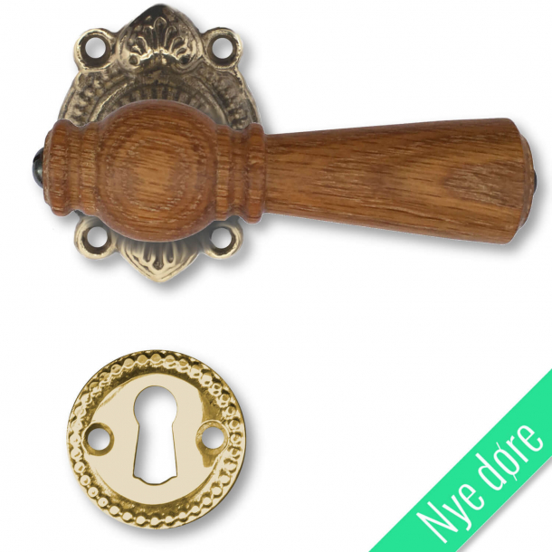Trädörrhandtag, inomhus - Almue, Brass, Oak, Tangentbord utan flik - Nya dörrar
