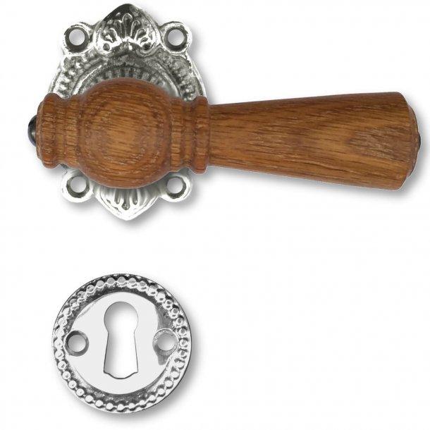 Wooden door handle interior - Antique Nickel and Oak, Escutcheon without flap