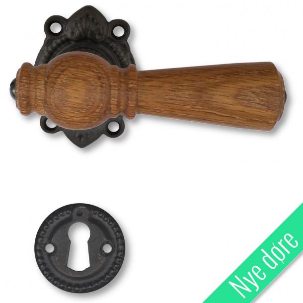 Trädörrhandtag, inomhus - Ekträ, Svart mässing, Antik, Tangentbord utan flik - Nya dörrar