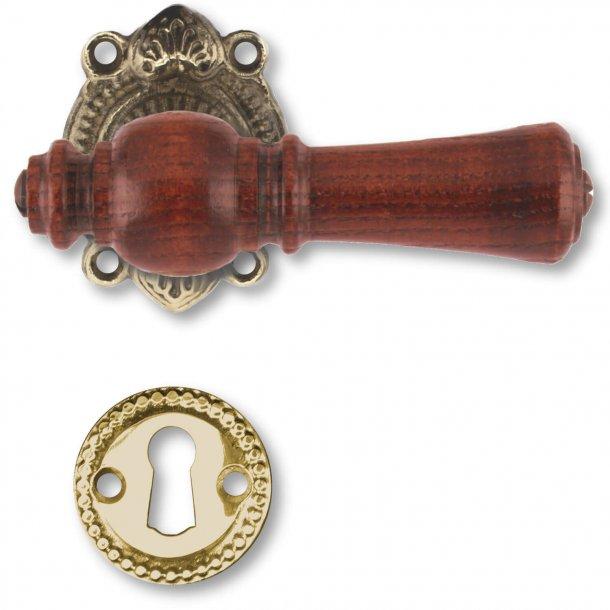 Klamka drewniana, kryty - drewno Almade Brass i Palisander