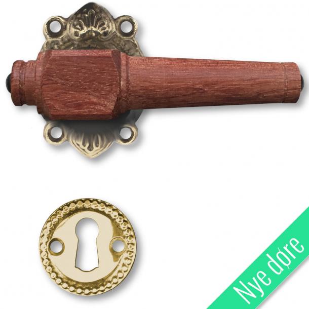 Trädörrhandtag, inomhus - Antik mässing och lövträ, nyckelskylt utan flik - Nya dörrar
