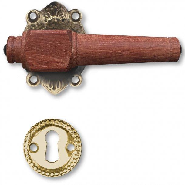 Holztürgriffe, Interieur - Antikmessing und Palisander Holz, Key geschieden ohne Klappe